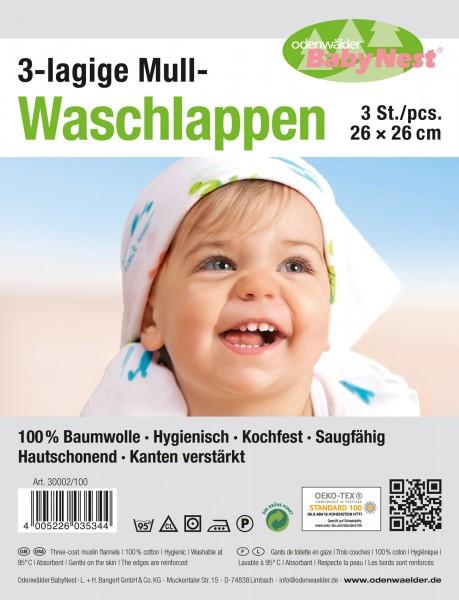 Mull-Waschlappen 3er Pack