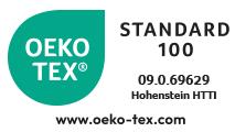 OEKO-TEX Standard 100 zertifiziert: 09.0.69629 Hohenstein